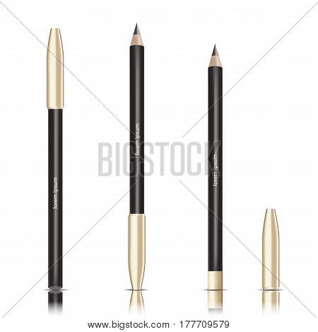 Vector cosmetic black pencil. Eye Pencil With Golden Lid Premium Cosmetic Ads mock up template. 3D Realistic Vector Illustration