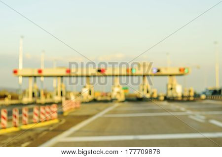 Blurred Highway Toll Payment Gate Without Cars