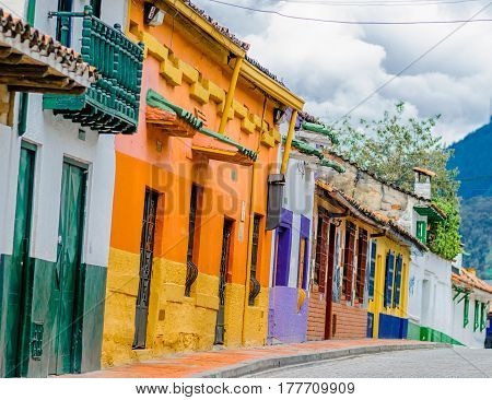 colorfoul buildings in colonial old town la candelaria in Bogota