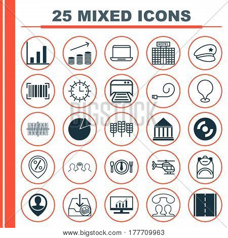 Set Of 25 Universal Editable Icons. Can Be Used For Web, Mobile And App Design. Includes Elements Such As Identification Code, Flight Vehicle, Education Center And More.