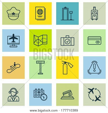 Set Of 16 Transportation Icons. Includes Internet Ticket, Airplane Information, Siren And Other Symbols. Beautiful Design Elements.