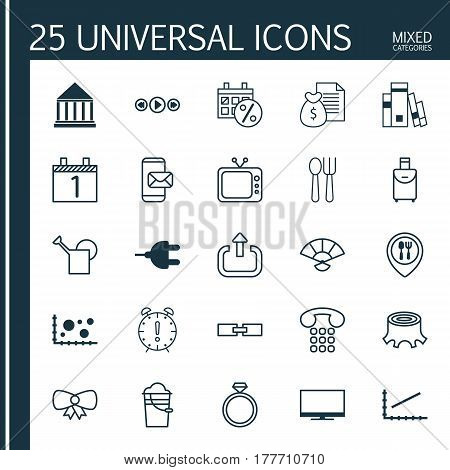 Set Of 25 Universal Editable Icons. Can Be Used For Web, Mobile And App Design. Includes Elements Such As Food Mapping, Music Control, Time Management And More.