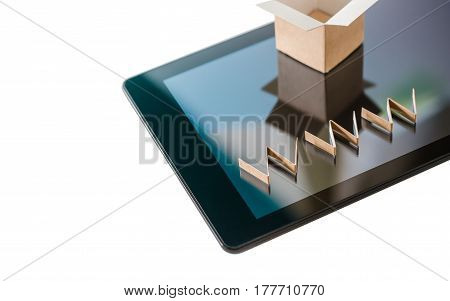 Online shopping background. Cardboard box and www text over digital tablet isolated on white