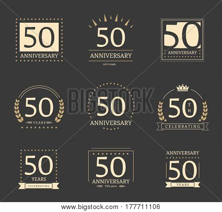 50th anniversary logotypes and badges collection. Vector illustration.