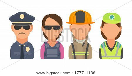 Set icon character people. Police, bodyguard, fireman, paramedic. Vector flat illustration on turquoise circle