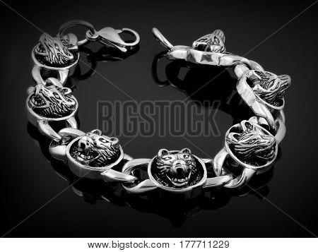 Bracelet For Men - Wolf Head