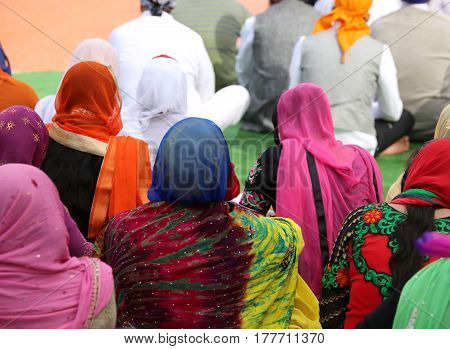 people Sikh with headscarf during the event in the city