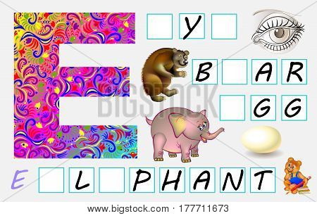 Educational page for children with letter E for study English. Need to write the letters in empty squares. Vector image.