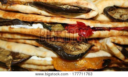 Stuffed Tortillas Giants Of Eggplant And Peppers Traditional Ita