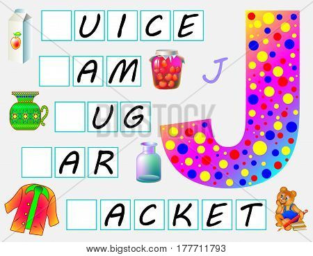Educational page for children with letter J for study English. Need to write the letters in empty squares. Vector image.