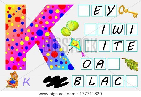 Educational page for children with letter K for study English. Need to write the letters in empty squares. Vector image.