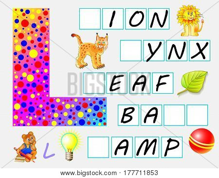 Educational page for children with letter L for study English. Need to write the letters in empty squares. Vector image.
