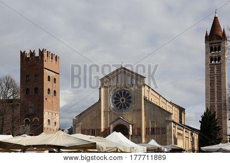 Basilica Of San Zeno In Verona In Italy And The Market Stalls