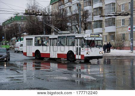 Yoshkar-Ola, Russia - February 25 2017 Photo ZiU-682 is a Soviet Russian high-floor trolley bus of large capacity for intraurban passenger traffic.