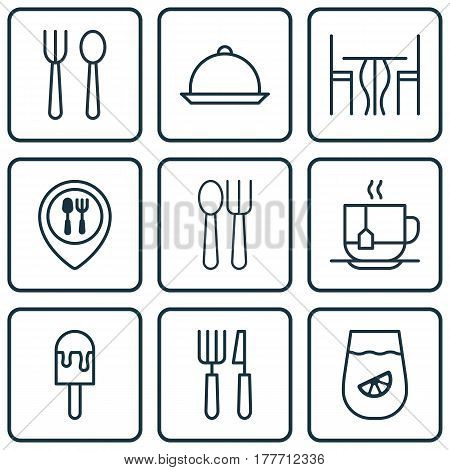 Set Of 9 Restaurant Icons. Includes Eating House, Dining Room, Hot Drink And Other Symbols. Beautiful Design Elements.