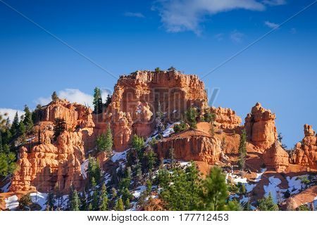Beautiful view of sandstone cusps at Red Canyon National Park in State Utah, USA