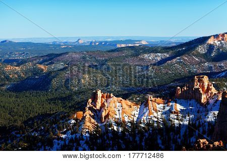 Panoramic view at a height of snowcapped peak of Bryce Canyon National Park, USA