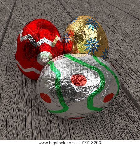 three colorful easter eggs on the dried wooden planks, 3d rendering