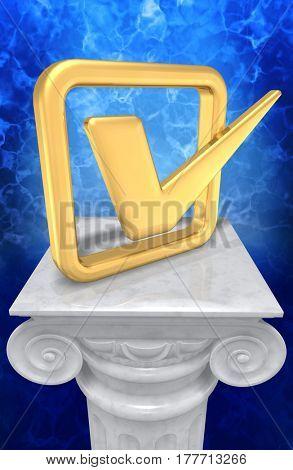 Check Mark On A Column 3D Illustration