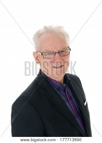 A closeup portrait image of a senior citizen in a jacked and glasses with white hair isolated for white background.