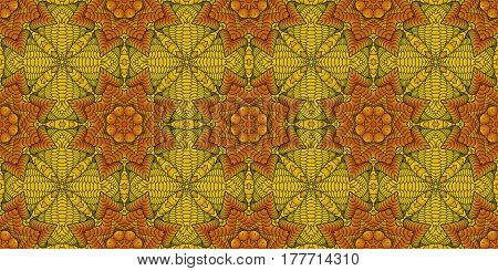 Kaleidoscopic orange seamless pattern is computer graphics and it can be used in the design of textiles in the printing industry in a variety of design projects.