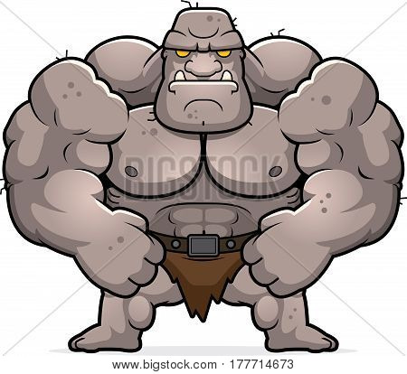 Cartoon Ogre Flexing