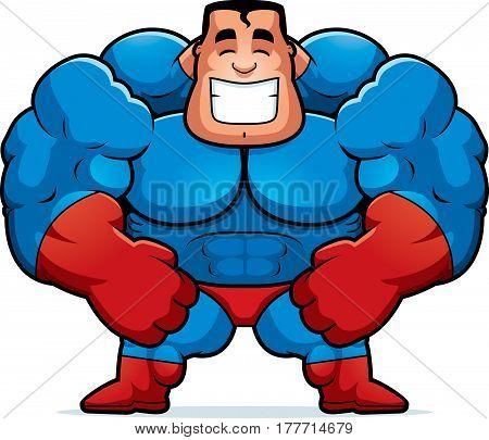 Cartoon Superhero Flexing