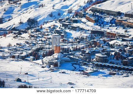 Beautiful view over the snowcapped slopes of Sestriere ski resort in Piedmont