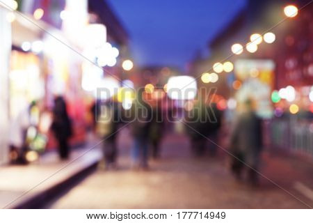 Blurred background of evening city street