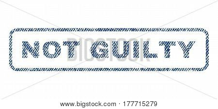 Not Guilty text textile seal stamp watermark. Blue jeans fabric vectorized texture. Vector tag inside rounded rectangular banner. Rubber sign with fiber textile structure.