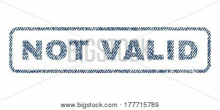 Not Valid text textile seal stamp watermark. Blue jeans fabric vectorized texture. Vector caption inside rounded rectangular banner. Rubber sticker with fiber textile structure.