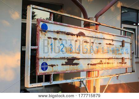 Old steel Score board Petanque at Petanque court