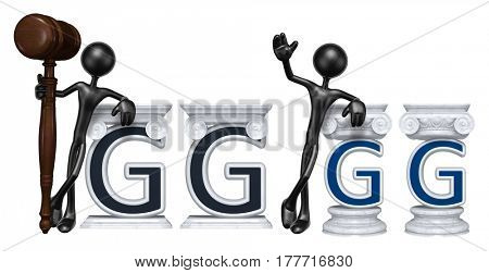 Lawyer Leaning On A Letter G The Original 3D Character Illustration