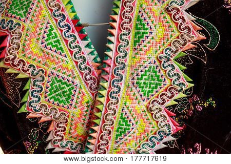 Hmong's (mountain people) hand embroidery pattern in nort thailand