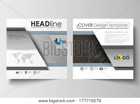 Business templates for square design brochure, magazine, flyer, booklet or annual report. Leaflet cover, abstract flat layout, easy editable blank. Abstract 3D construction and polygonal molecules on gray background, scientific technology vector.