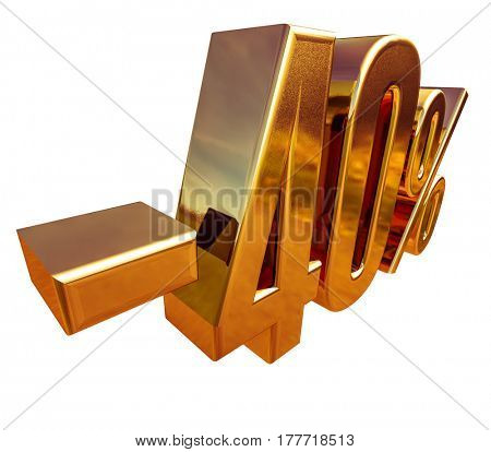 3d render: 3d Gold Minus Forty Percent Discount Sign, -40%