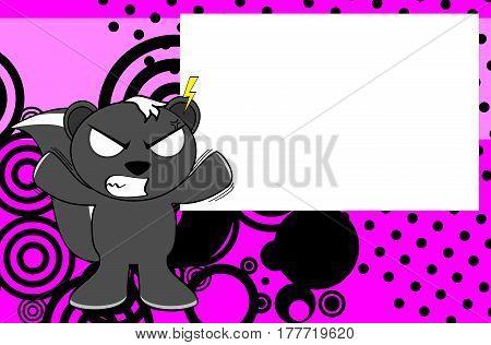 furious skunk emotion cartoon background in vector format