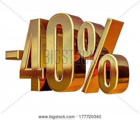 3d render: 3d Gold Minus Forty Percent Discount Sign, -40%