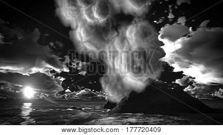 Volcanic eruption on island 3d rendering