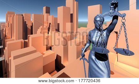 Statue of justice, Law concept, Temida - Themis 3d rendering