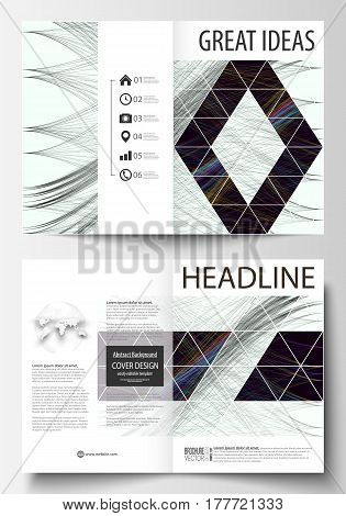 Business templates for bi fold brochure, magazine, flyer. Cover template, easy editable vector, flat layout in A4 size. Abstract waves, lines and curves. Dark color background. Motion design