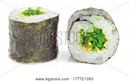 Sushi roll. Nori wrapped seaweed salad and white sesame. Asian Japanese food.