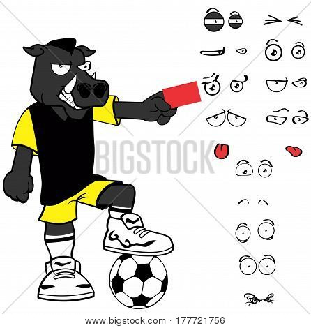 red card wild boar soccer cartoon expressions set in vector format