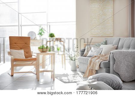 Modern interior of cozy living room