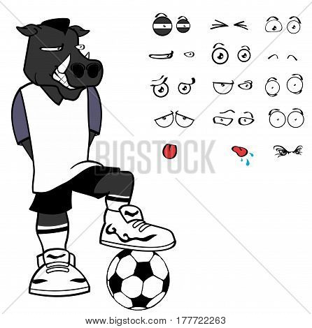 wild boar soccer cartoon expressions set in vector format