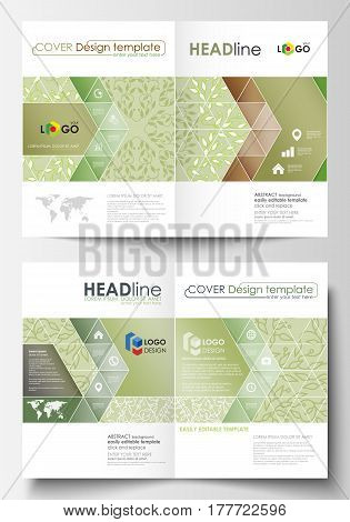 Business templates for bi fold brochure, magazine, flyer, booklet or annual report. Cover design template, easy editable vector, abstract flat layout in A4 size. Green color background with leaves. Spa concept in linear style. Vector decoration for cosmet