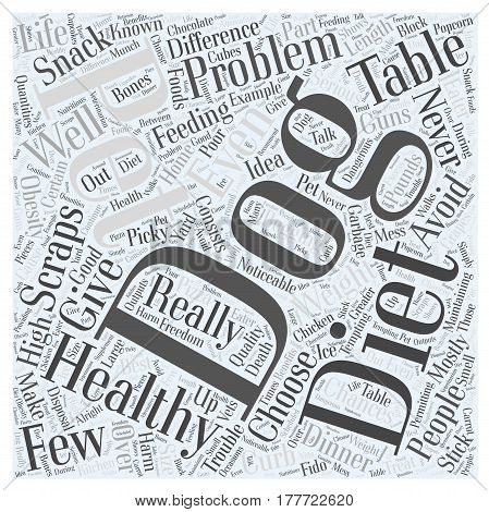 Avoid Table Scraps in Your Dogs Diet Word Cloud Concept