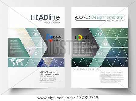 Business templates for brochure, magazine, flyer, booklet or annual report. Cover design template, easy editable vector, abstract flat layout in A4 size. Chemistry pattern, hexagonal molecule structure. Medicine, science, technology concept.