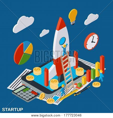 Business startup flat isometric vector concept illustration