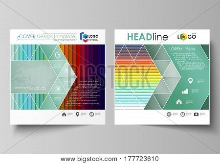 Business templates for square design brochure, magazine, flyer, booklet or annual report. Leaflet cover, abstract flat layout, easy editable vector. Bright color rectangles, colorful design with overlapping geometric rectangular shapes forming abstract be